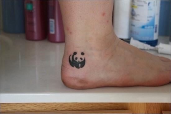 Cute Small Panda Tattoo On Ankle