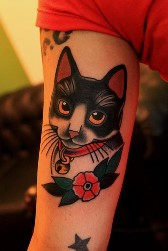 Cute Traditional Cat Tattoo On Sleeve