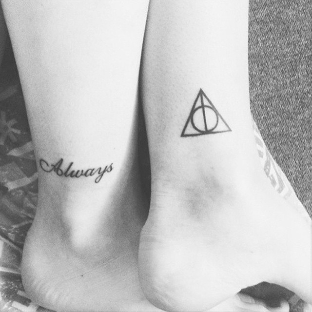 Deathly Hallows Symbol With Word Tattoo On Both Ankles