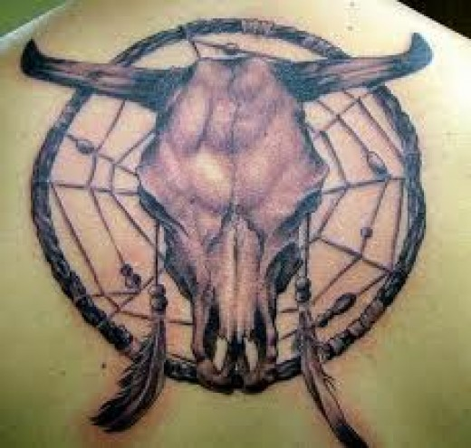 Dreamcatcher Bull Skull Tattoo On Upper Back