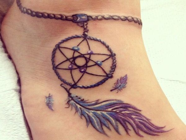 Dreamcatcher With Long Feather Ankle Tattoo