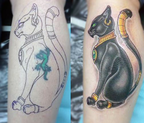 Egyptian Cat Before And After Tattoo By Rob Zeinog