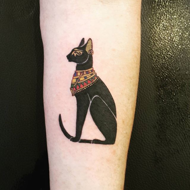 Egyptian Cat God Tattoo On Arm By Ismailakblt