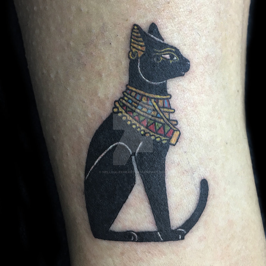 Egyptian Cat Tattoo By Alex Heart