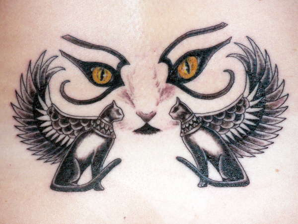 Egyptian Hieroglyph Of Goddess Cats And Face Tattoo