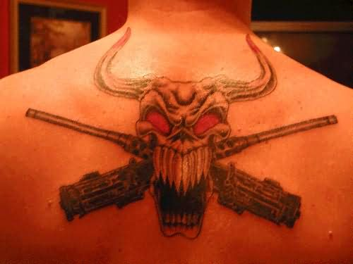 Evil Bull Skull With Guns Tattoo On Upper Back