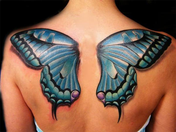 Fabulous 3D Butterfly Tattoo On Upper Back