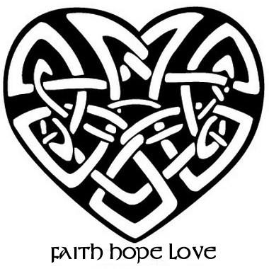 Faith Hope Love Celtic Heart Tattoo Design
