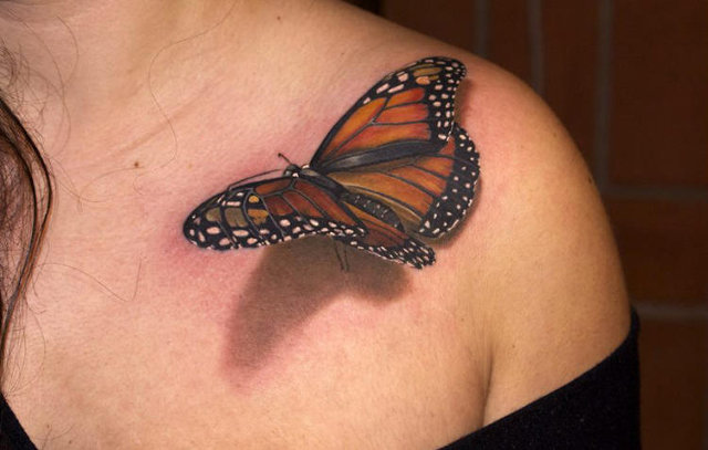 Fantastic 3D Monarch Butterfly Tattoo On Upper Shoulder