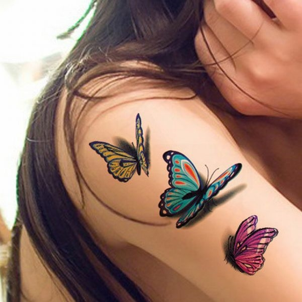 Fantastic 3D Temporary Tattoo On Girl Shoulder