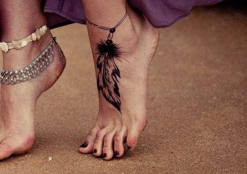 Feather Ankle Bracelet Tattoo By Shadowangel