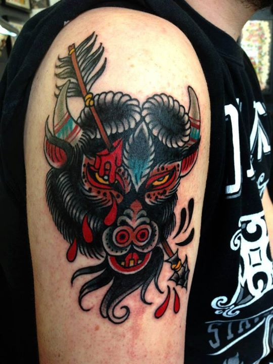 Fierce Bull With Arrow Traditional Tattoo On Shoulder