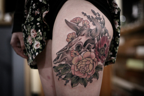 Floral Bull Skull Tattoo On Girl Left Thigh
