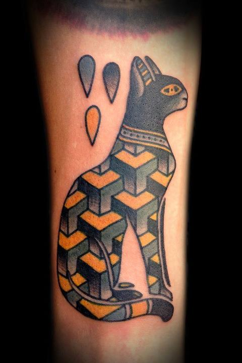 Geometric Egyptian Cat Traditional Tattoo