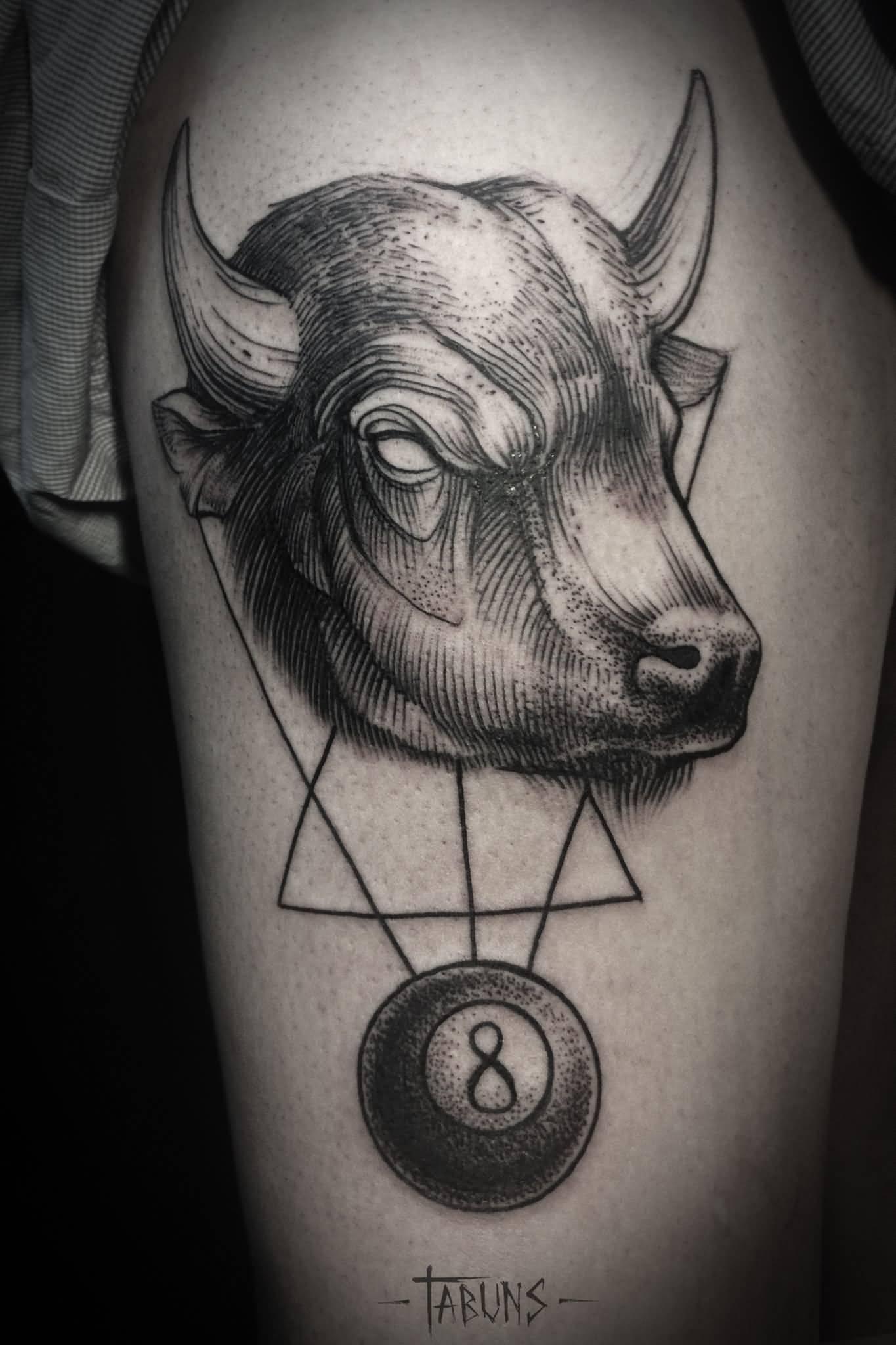 Geometric Eight Bull Tattoo By Alex Tabuns