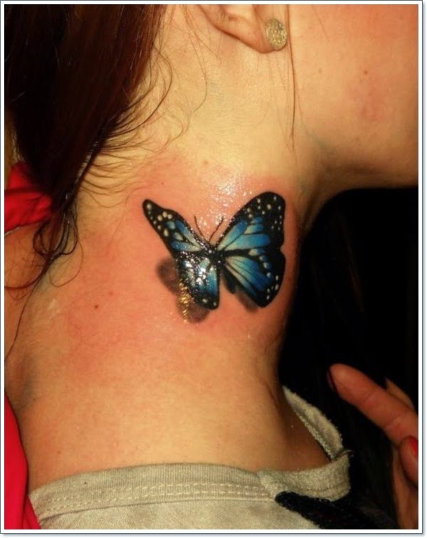 Gorgeous 3D Butterfly Tattoo On Side Neck For Girls