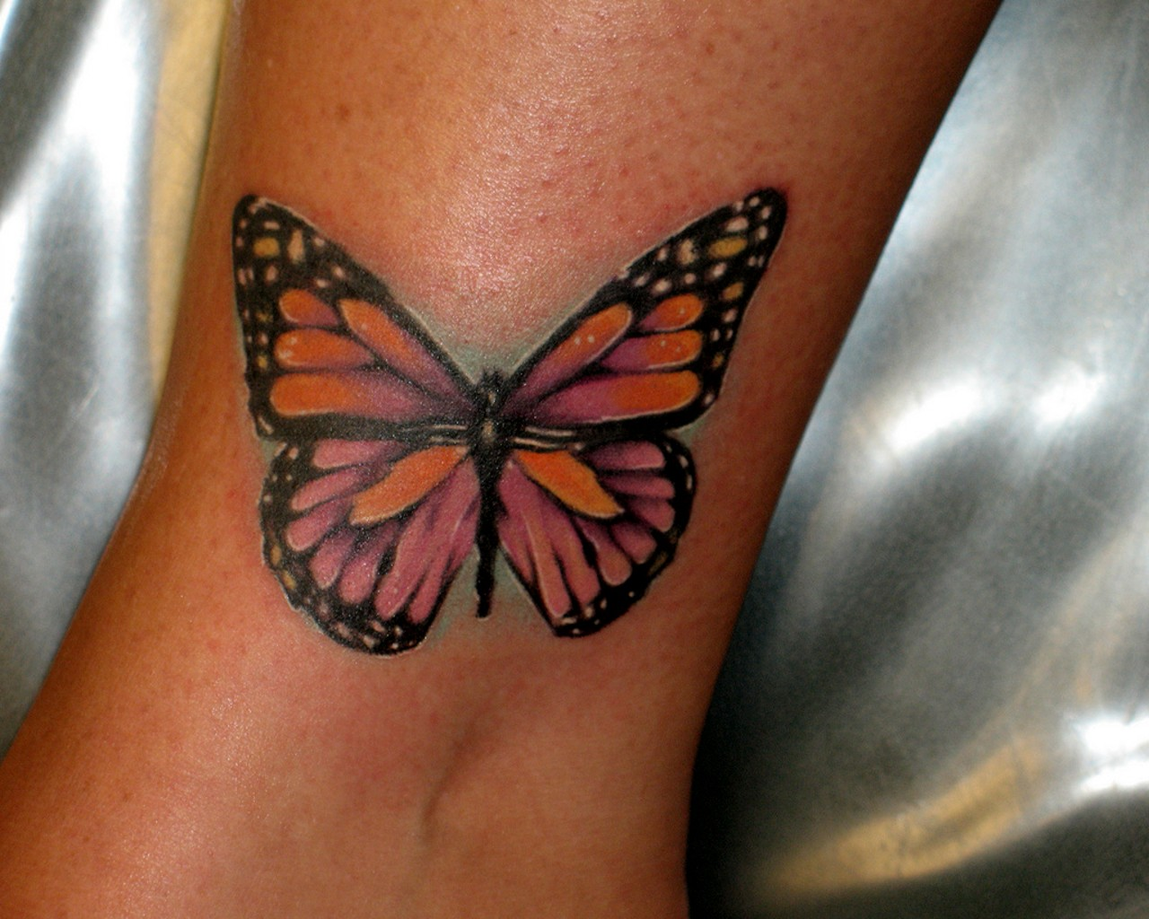Gorgeous Butterfly Tattoo On Ankle
