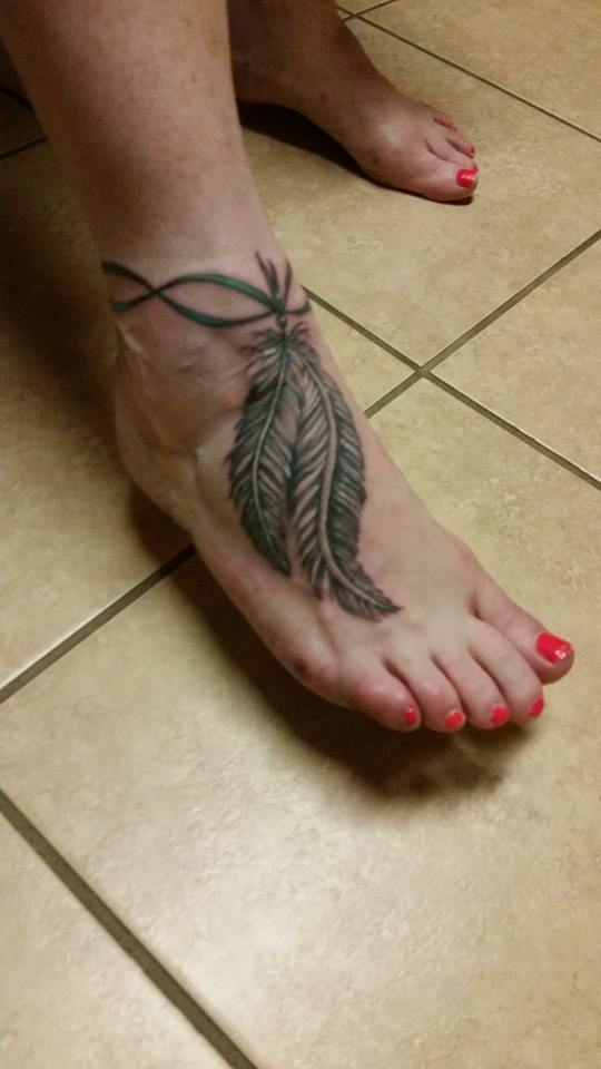Grey Ink Rosary Feather Tattoo On Right Ankle