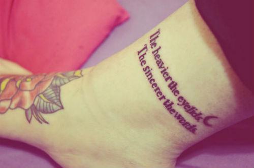 Half Moon Wording Tattoo On Ankle