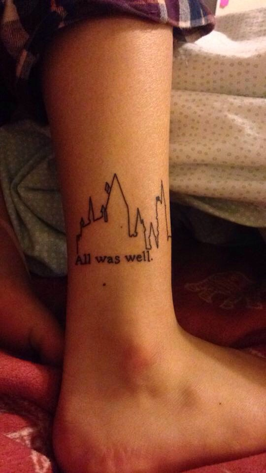 Harry Potter Castle Outline With Words Tattoo On Ankle By Cam