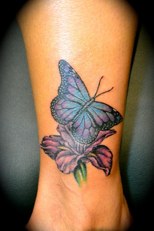 Iris Butterfly Tattoo On Ankle
