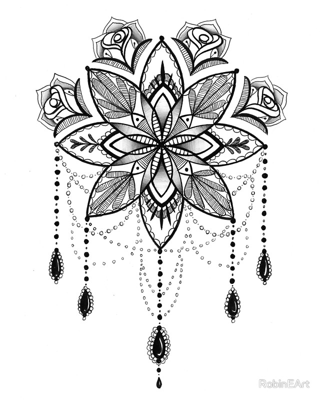 Jewelled Mandala Flower Tattoo Design