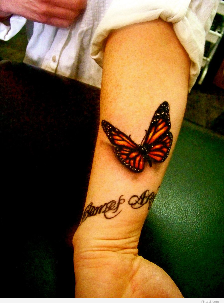 Left Arm 3D Monarch Butterfly Tattoo