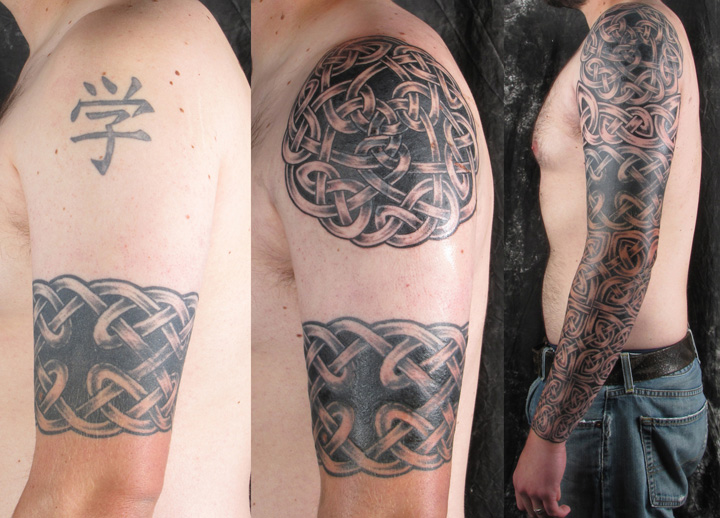 Left Full Sleeve Celtic Tattoo In Stages For Men