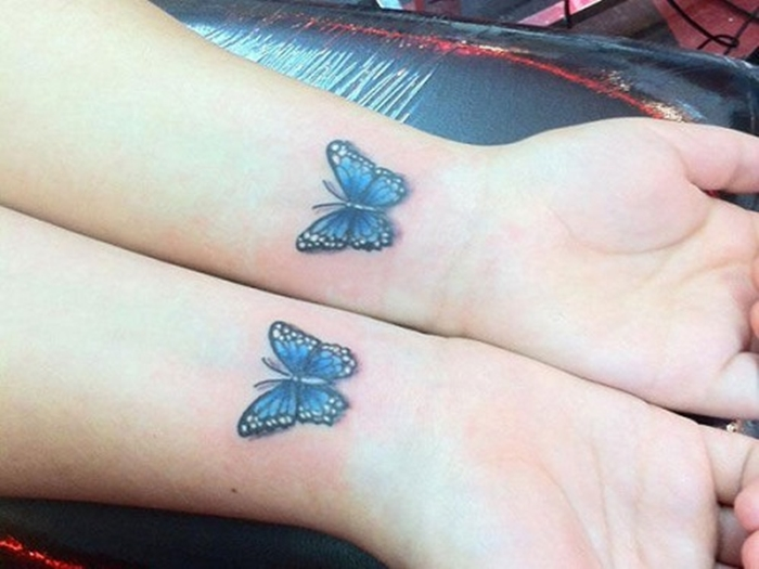 Lovely Butterfly Matching Tattoo On Wrists