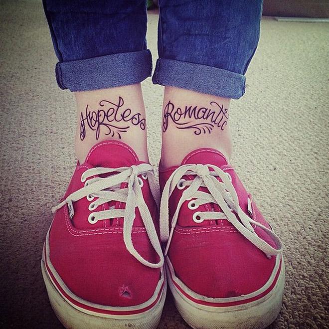 Lovely Hopeless Romantic Words Tattoo On Ankles
