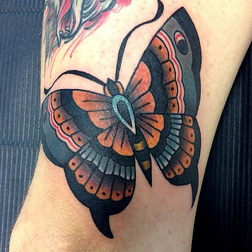 Lovely Traditional Butterfly Tattoo By Dap Skingdom