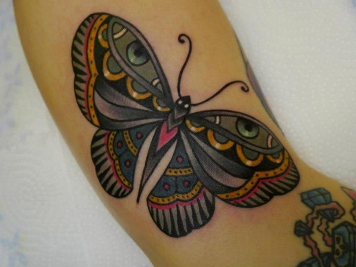 Lovely Traditional Butterfly Tattoo By Phatt German