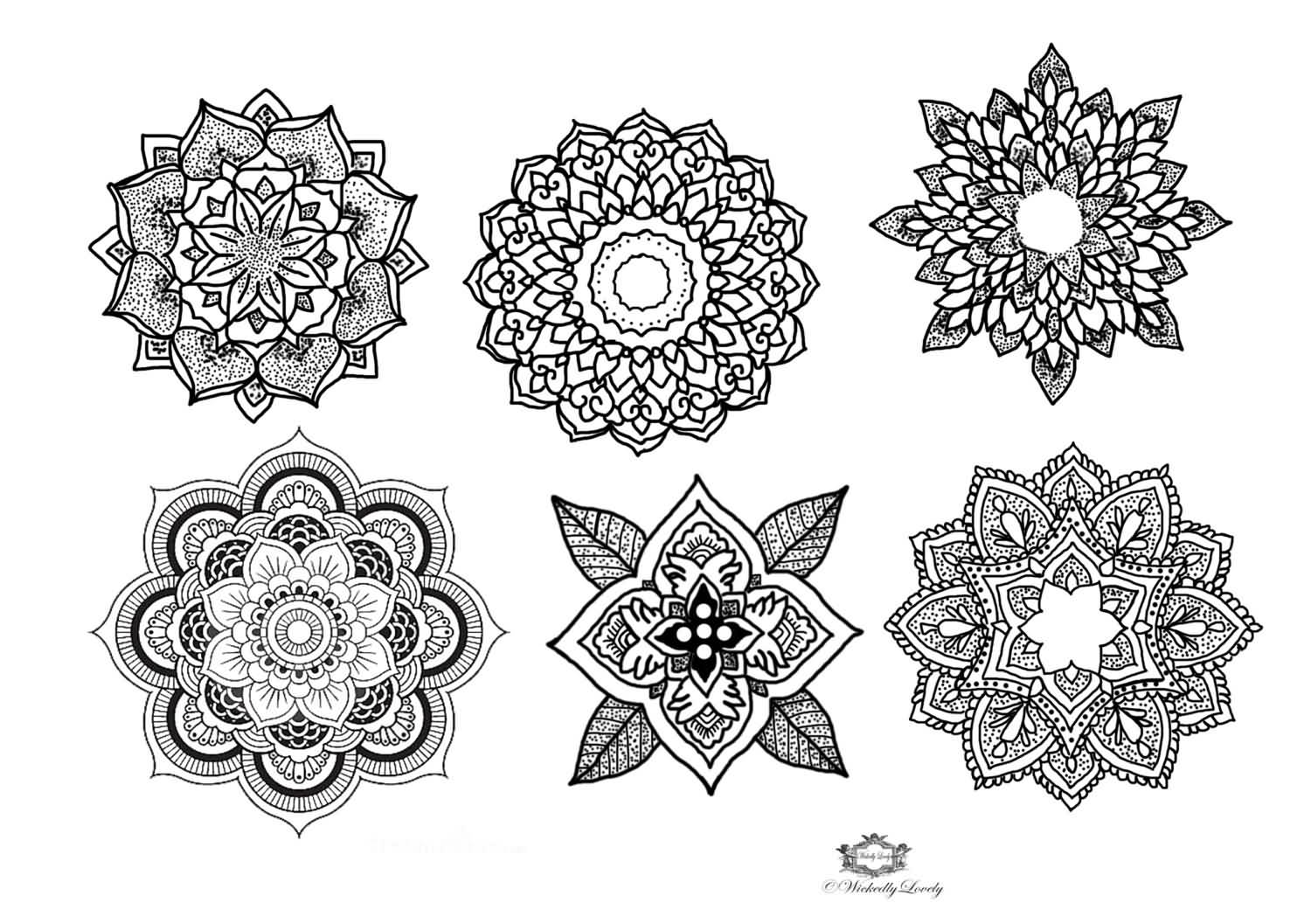 Mandala Temporary Tattoos Design Set