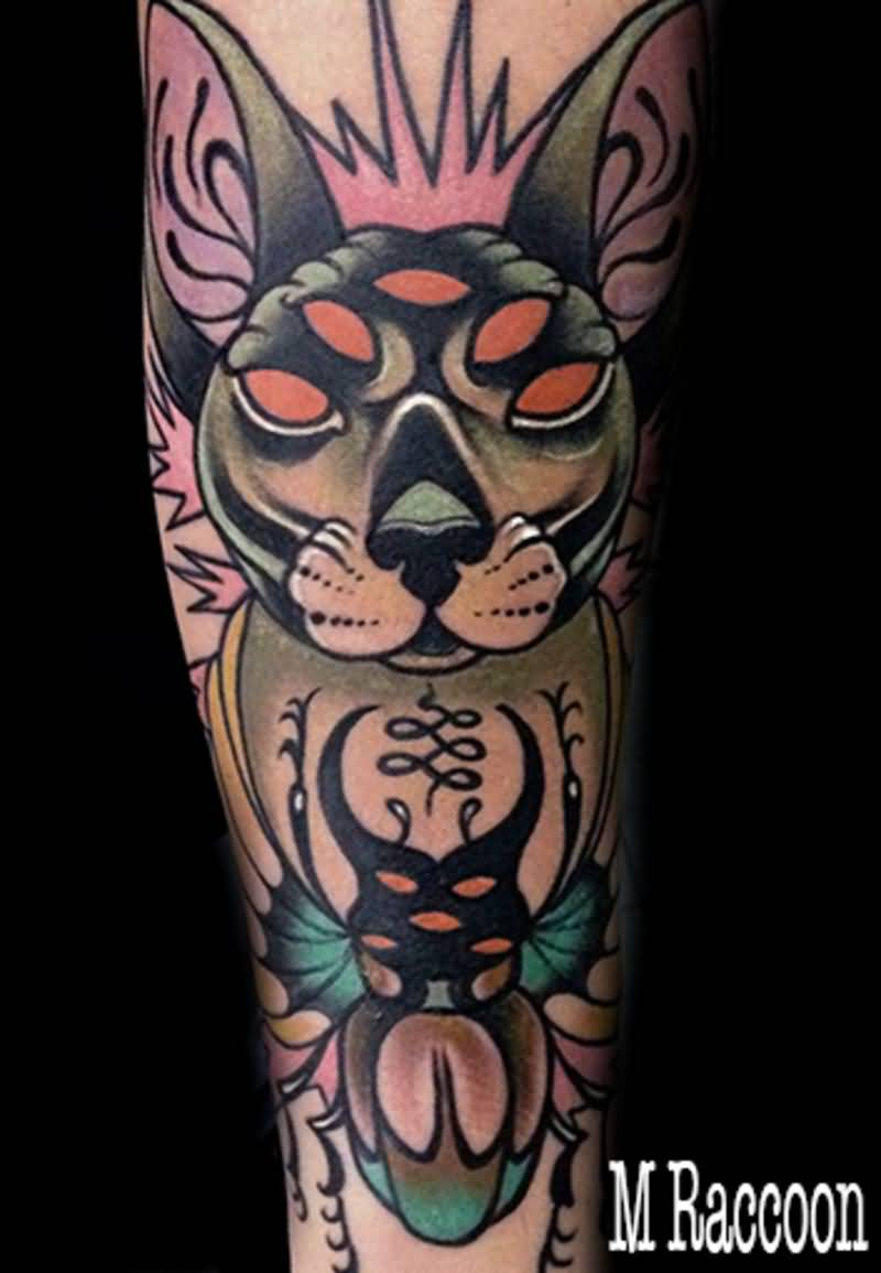 Manuraccoon Cat Traditional Tattoo On Arm