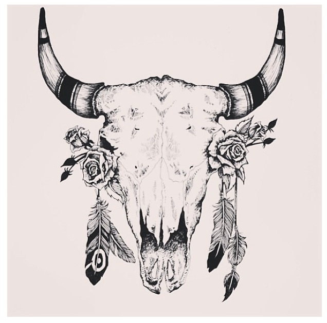 Native Bull Skull Tattoo Design