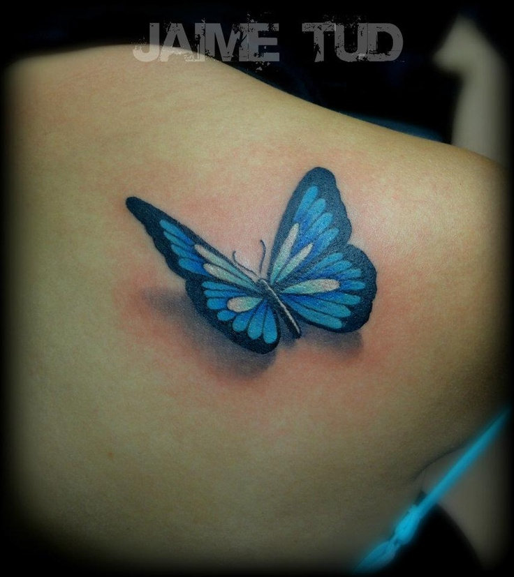 Nice 3D Butterfly Tattoo On Girl Back Shoulder