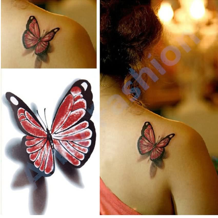 Nice 3D Butterfly Tattoo On Right Back Shoulder