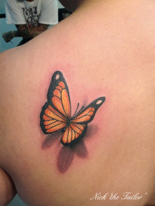 Nice 3D Monarch Butterfly Tattoo On Left Back Shoulder