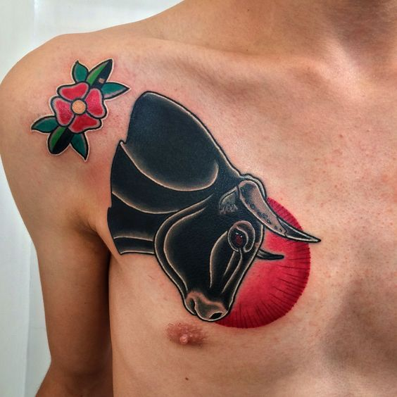 Nice Black Bull Traditional Tattoo On Chest For Men