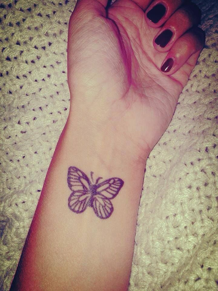 Nice Butterfly Tattoo On Left Wrist For Girls