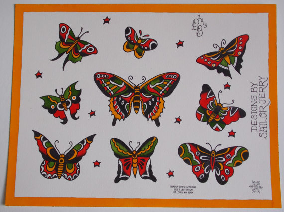 Nice Butterfly Traditional Tattoo Design Set