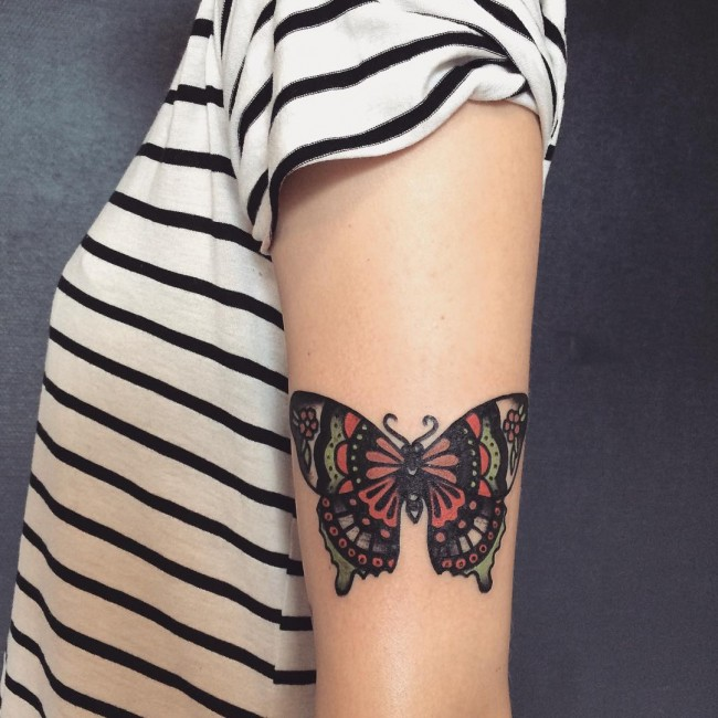 Nice Butterfly Traditional Tattoo For Girls