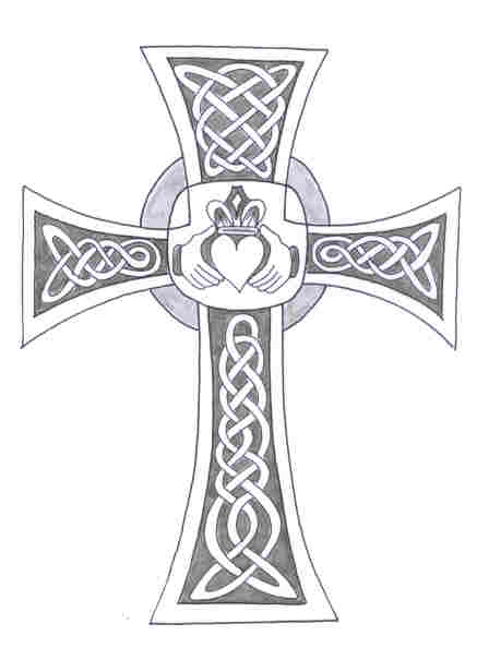 Nice Celtic Claddagh Cross Tattoo Drawing