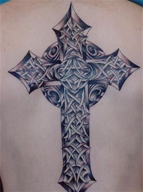 Nice Celtic Style Cross Tattoo On Upper Back