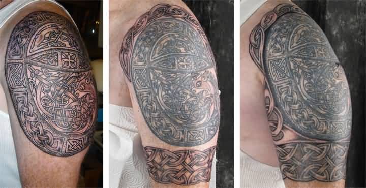 Nice Celtic Tattoo On Left Half Sleeve In Stages