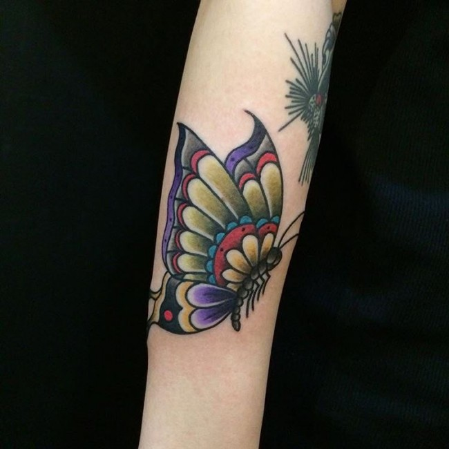 Nice Color Butterfly Tattoo On Arm Sleeve