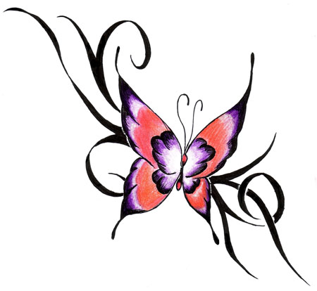 Nice Colored Butterfly Tattoo Design