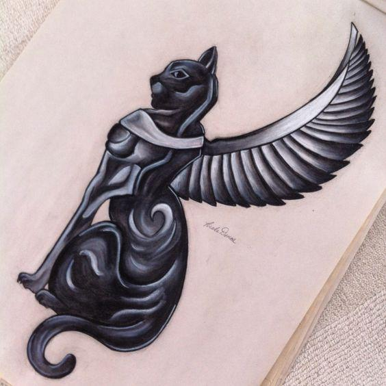 Nice Egyptian Cat With Wings Tattoo Drawing