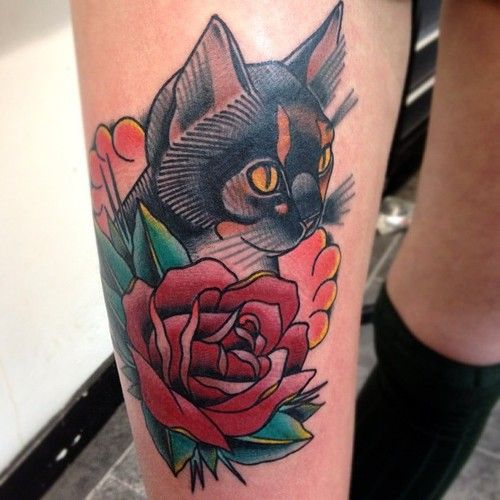 Nice Linework Traditional Cat Tattoo On Leg