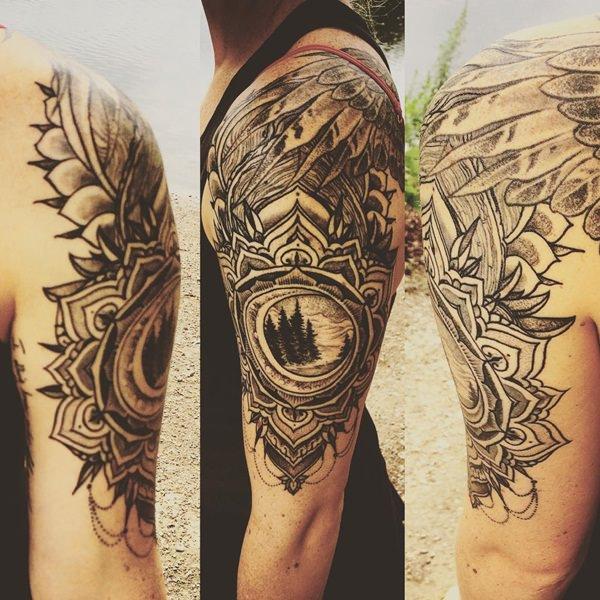8544d26f47430 Nice Mandala Flower Tattoo On Left Half Sleeve
